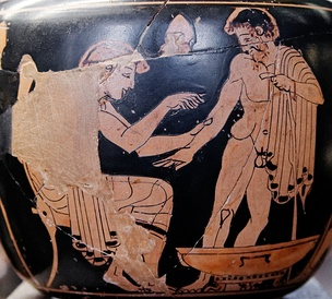 Physician treating a patient (Attic red-figure aryballos, 480–470 BC)