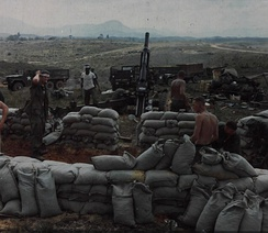 Members of the 3rd Brigade fill and stack sandbags around personnel bunker at Phu Bai Combat Base, 6 March 1968