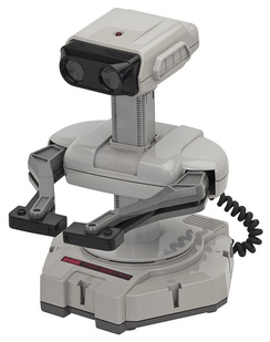 R.O.B. (Robotic Operating Buddy), an accessory for the NES's 1985 launch. Although it ended up having a short product lifespan, R.O.B. was initially used to market the NES as novel and sophisticated compared to previous game consoles.