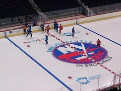 The New York Islanders on the Barclays Center ice rink.
