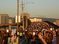 One of the marches to the Port of Oakland during the 2011 Oakland General Strike on 2 November 2011