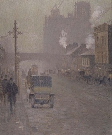 An oil painting of Oxford Road, Manchester in 1910 by Valette