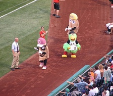 The Pirate Parrot getting involved in the Great Pierogi Race, seen with Oliver Onion and Cheese Chester.