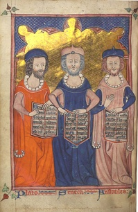 Plato, Seneca, and Aristotle from Devotional and Philosophical Writings, c. 1330