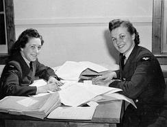 Timekeeping personnel of the RCAF Women's Division, No. 2 Service Flying Training School, RCAF Station Uplands, 1942. The RCAF was the first service branch to actively recruit women, doing so throughout the war.