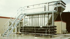 Dissolved air flotation system for treating industrial wastewater.