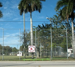 Red Sox logo on the fence outside the City of Palms Park