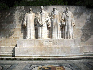 Statues of William Farel, John Calvin, Theodore Beza, and John Knox at the centre of the International Monument to the Reformation in Geneva, Switzerland. They were among the most influential theologians that helped develop the Reformed tradition.