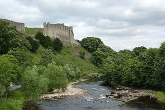 Richmond Castle from across the River Swale