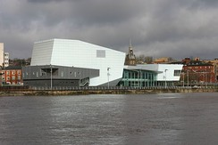 Riverfront Arts Centre next to the River Usk