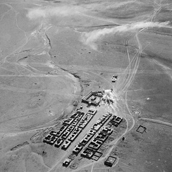 The fort at Rutbah under attack from H4-based Bristol Blenheims, 9 May 1941