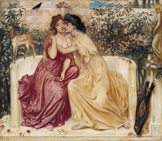The word lesbian can refer to a woman's identity, to desire, or to romantic or sexual activity between women. (Sappho and Erinna in a Garden at Mytilene by Simeon Solomon)