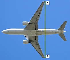The distance A to B is the wingspan of this Boeing 777-200ER