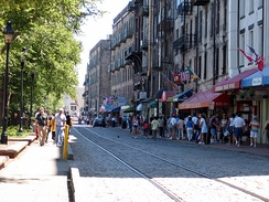 Savannah's River Street is a popular tourist destination.