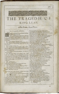 The first page of King Lear, printed in the Second Folio of 1632