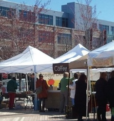 The Ship Street Farmer's Market in front of the Medical Education Building on the campus of Brown's Alpert Medical School in the Jewelry District