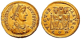 A solidus minted by Valentinian II. On the reverse, both Valentinian and Theodosius I are celebrated as victorious.