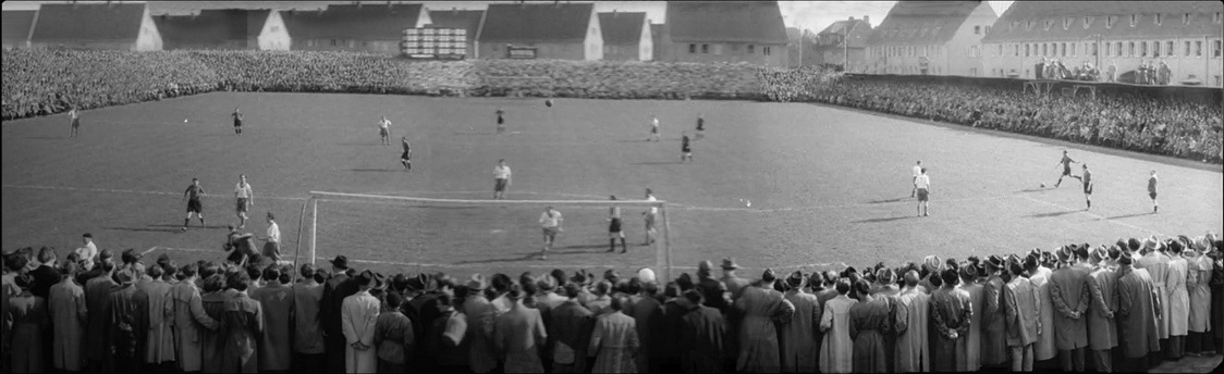 A freekick in the old stadium  Stadtpark against SV Sodingen in 1955
