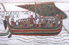 The Bayeux Tapestry depicts the 1066 Norman invasion of England with a force of some 8,000 infantry and heavy cavalry landed on the English shore