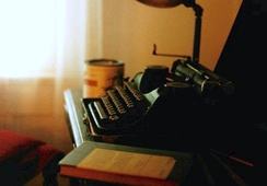 William Faulkner's Underwood Universal Portable sits in his office at Rowan Oak, which is now maintained by the University of Mississippi in Oxford as a museum.
