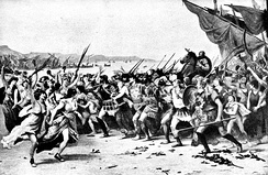 The triumph of Themistocles after the Battle of Salamis. 19th century illustration.