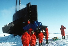 USS Pargo (SSN-650) surfaced in Arctic ice.