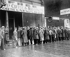 Men outside a soup kitchen during the Great Depression (1931)
