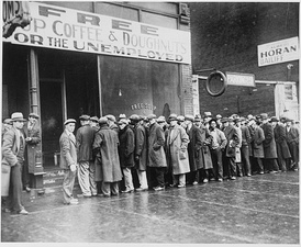 Unemployed men outside a soup kitchen in Depression-era Chicago, Illinois, the US, 1931
