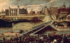 Madrid from the exit of the Puente de Segovia. Painting of 1560. The alcázar can be seen on the left.