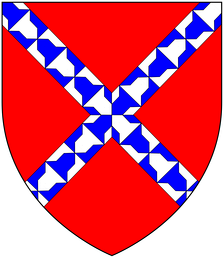 Modern arms of the Willingtons of Umberleigh, Devon and Barcheston in Warwickshire: Gules, a saltire vair. These arms of Willington a saltire vair are shown on the tomb in Barcheston Church, Warks., of William Willington (d.1555), of Willington manor and his wife Anne, whose alabaster effigies lie on top of the tomb.[9] Also the same arms are listed in the Heralds' Visitation of Warwickshire, 1619 (Wellington de Hurley): Gules, a saltire vair. The Dering Roll of Arms lists the arms of Rauf de Wiltone as Gules, a saltire vair.
