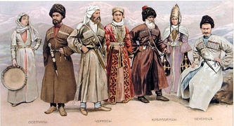 Northern Caucasus folk costumes: (l-r) Ossetians, Circassians, Kabardians, and Chechens.