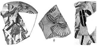 Sgraffito pottery fragments from the 12th century showing Greek warriors wearing the fustanella, from Corinth, Greece.[13]