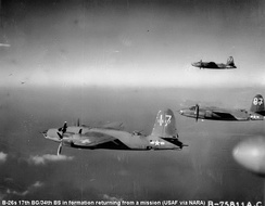 Martin B-26C Marauders of the 34th Bomb Squadron returning from a mission, 1944 41-35177 in foreground.