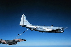 181st Air Refueling Squadron KC-97L Stratotanker. AF Ser. No. 53-0360, refueling an 81st Tactical Fighter Wing F-4E Phantom II circa 1975.  This KC-97 is now in the collection of the Malmstrom Museum at Malmstrom AFB, displayed as AF Ser. No. 52-2638.