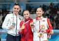 Uneven bars victory ceremony (from left to right): Giorgia Villa (Silver), Ksenia Klimenko (Gold), Tang Xijing (Bronze)