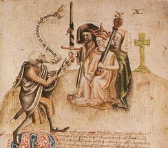 The ollamh rìgh (royal poet) greets King Alexander III during a Gaelic coronation ceremony at Stone, 1249.