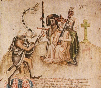 "Coronation of King Alexander III on Moot Hill, Scone on 13 July 1249. He is being greeted by the ollamh rìgh, the royal poet, who is addressing him with the proclamation ""Benach De Re Albanne"" (= Beannachd do Rìgh Albann, ""Blessings to the King of Scotland""); the poet goes on to recite Alexander's genealogy."