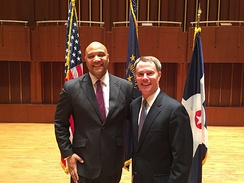 U.S. Representative for Indiana's 7th congressional district, André Carson (left) with Indianapolis Mayor Joe Hogsett in 2016.