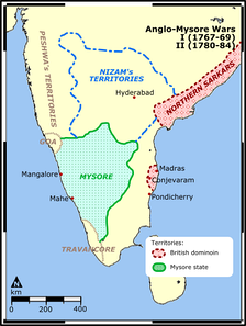 Theater map for the First and the Second Anglo-Mysore Wars