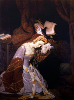 Anne Boleyn in the Tower of London waiting to be executed by beheading, by Édouard Cibot (1799–1877)