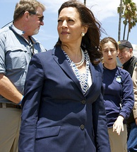 Attorney General Kamala Harris tours oil spill cleanup efforts.