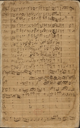 Start of the Kyrie of Johann Sebastian Bach's Mass in B minor, originally composed as the start of a Kyrie–Gloria Mass in B minor dedicated to Frederick Augustus II, Elector of Saxony, when he came to power in 1733. The original Kyrie–Gloria mass was composed in 12 movements for SSATB soloists and choir, and an extensive baroque orchestra. It was probably because of its long duration that the score was archived in the Royal Library upon arrival in Dresden, instead of being added to the repertoire of the Catholic Hofkirche.[4]