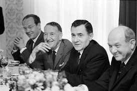 L-R: Llewellyn Thompson, Soviet Foreign Minister Andrei Gromyko and Dean Rusk