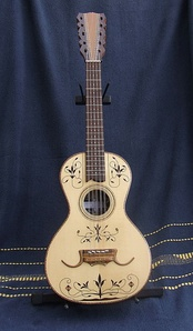 Traditional viola caipira with fine marquetry work