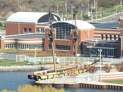 The Erie Maritime Museum, the Brig Niagara, and the Blasco Library.