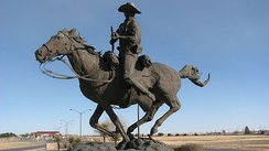 Buffalo Soldier Memorial of El Paso, in Fort Bliss, depicting CPL John Ross, I Troop, 9th Cavalry, during an encounter in the Guadalupe Mountains during the Indian Wars