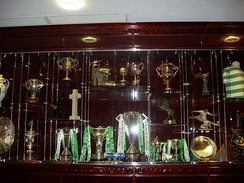 Trophy case at Celtic Park