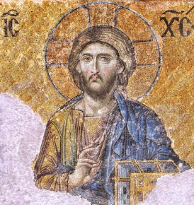 One of the most famous of the surviving Byzantine mosaics of the Hagia Sophia in Constantinople – the image of Christ Pantocrator on the walls of the upper southern gallery, Christ being flanked by the Virgin Mary and John the Baptist; circa 1261