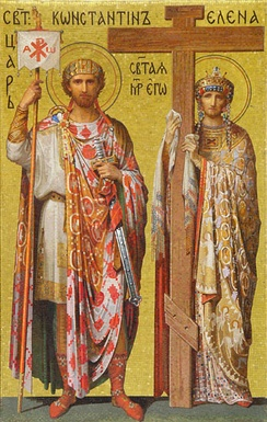 Constantine and Helena. Mosaic in Saint Isaac's Cathedral, Peterburg, Russia