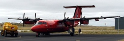 The BAS Dash-7 at Port Stanley Airport on the Falkland Islands.